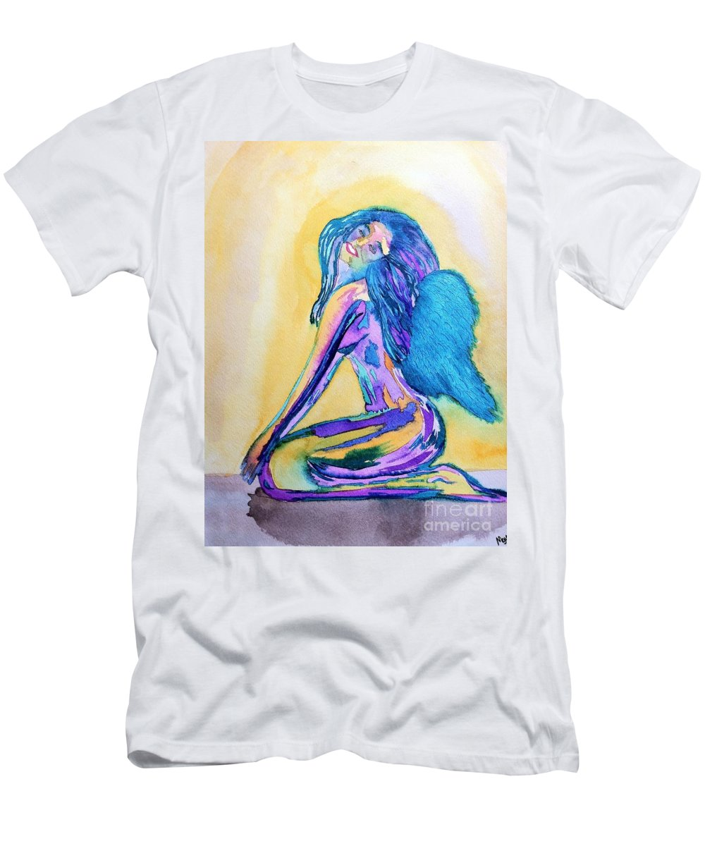 Blue Men's T-Shirt (Athletic Fit) featuring the drawing July by Melissa Darnell Glowacki