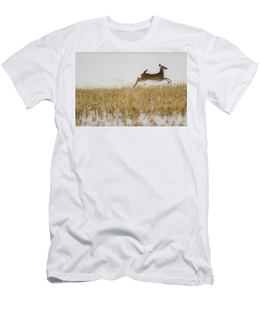 Doe Men's T-Shirt (Athletic Fit) featuring the photograph Jumping Doe In Corn Field by Crystal Heitzman Renskers