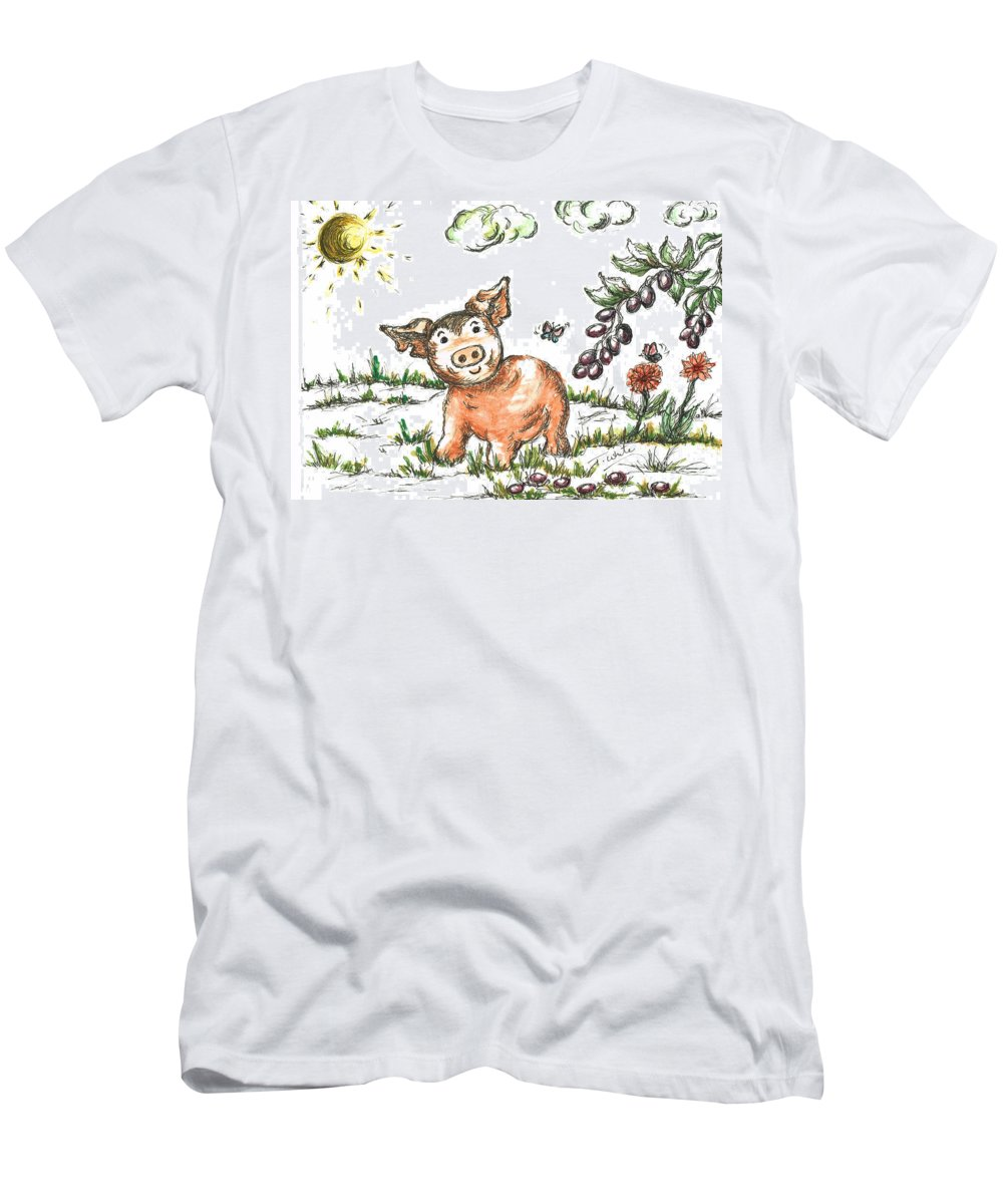 Teresa White Men's T-Shirt (Athletic Fit) featuring the painting Junior Pig by Teresa White