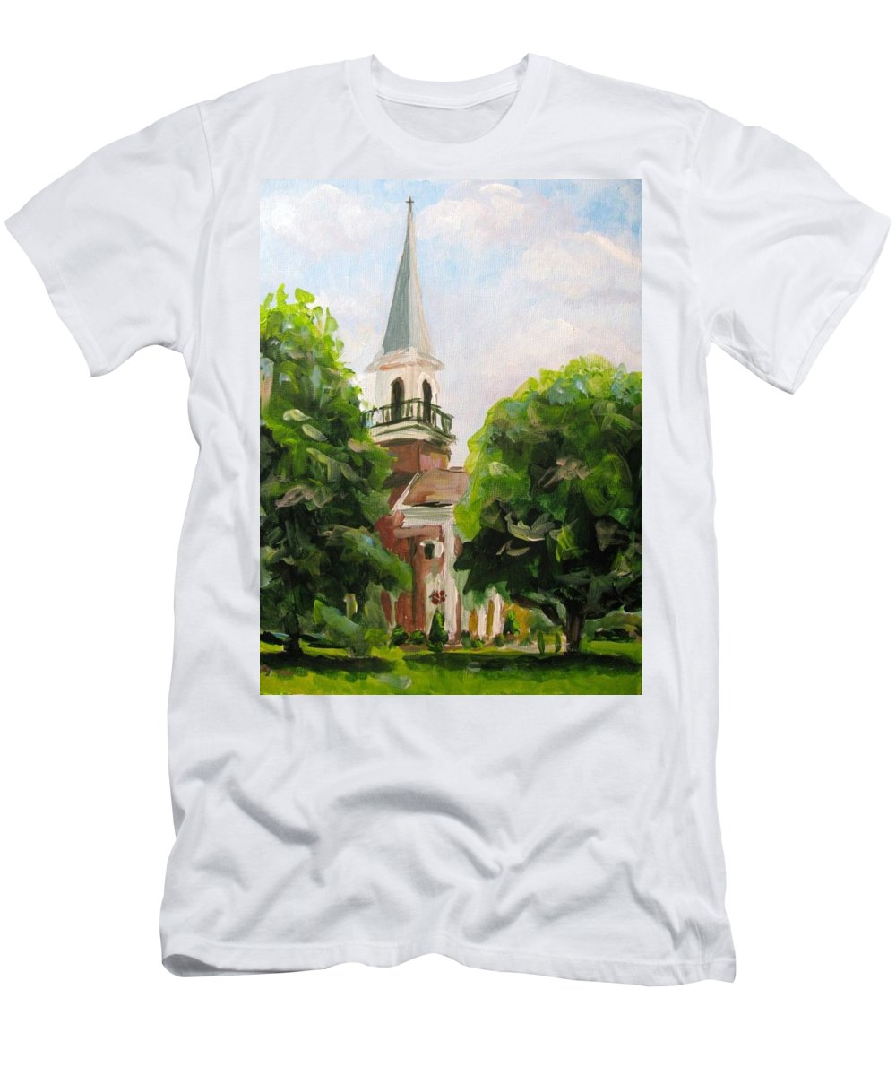 Church Men's T-Shirt (Athletic Fit) featuring the painting Just A Closer Walk With Thee by Susan Elizabeth Jones