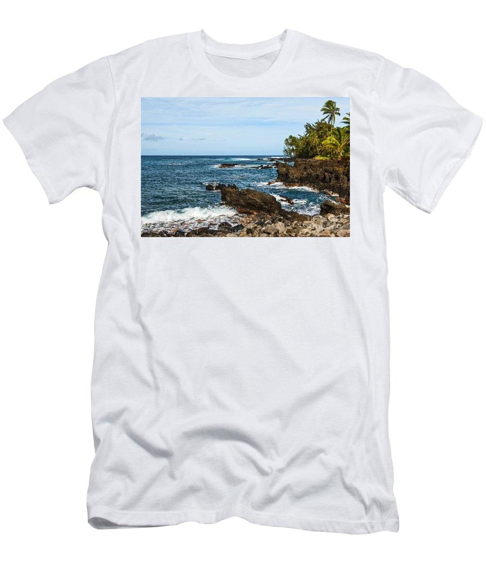 Keanae Peninsula Men's T-Shirt (Athletic Fit) featuring the photograph Keanae Coast - The Rugged Volcanic Coast Of The Keanae Peninsula In Maui. by Jamie Pham
