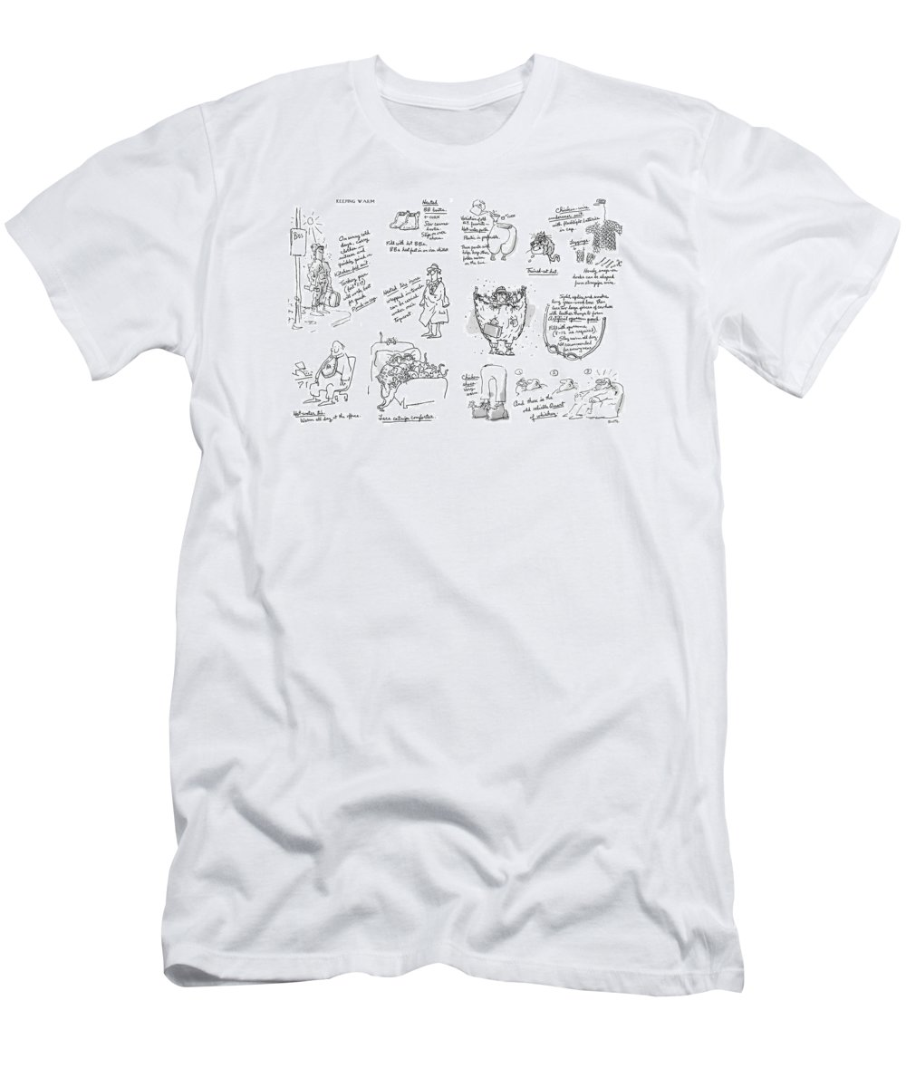 Keeping Warm (george Booth's Incomparable Attempts To Keep The Heat Up And Costs Down.) Technology Useless Fashion Seasons Winter Artkey 44834 Men's T-Shirt (Athletic Fit) featuring the drawing Keeping Warm by George Booth