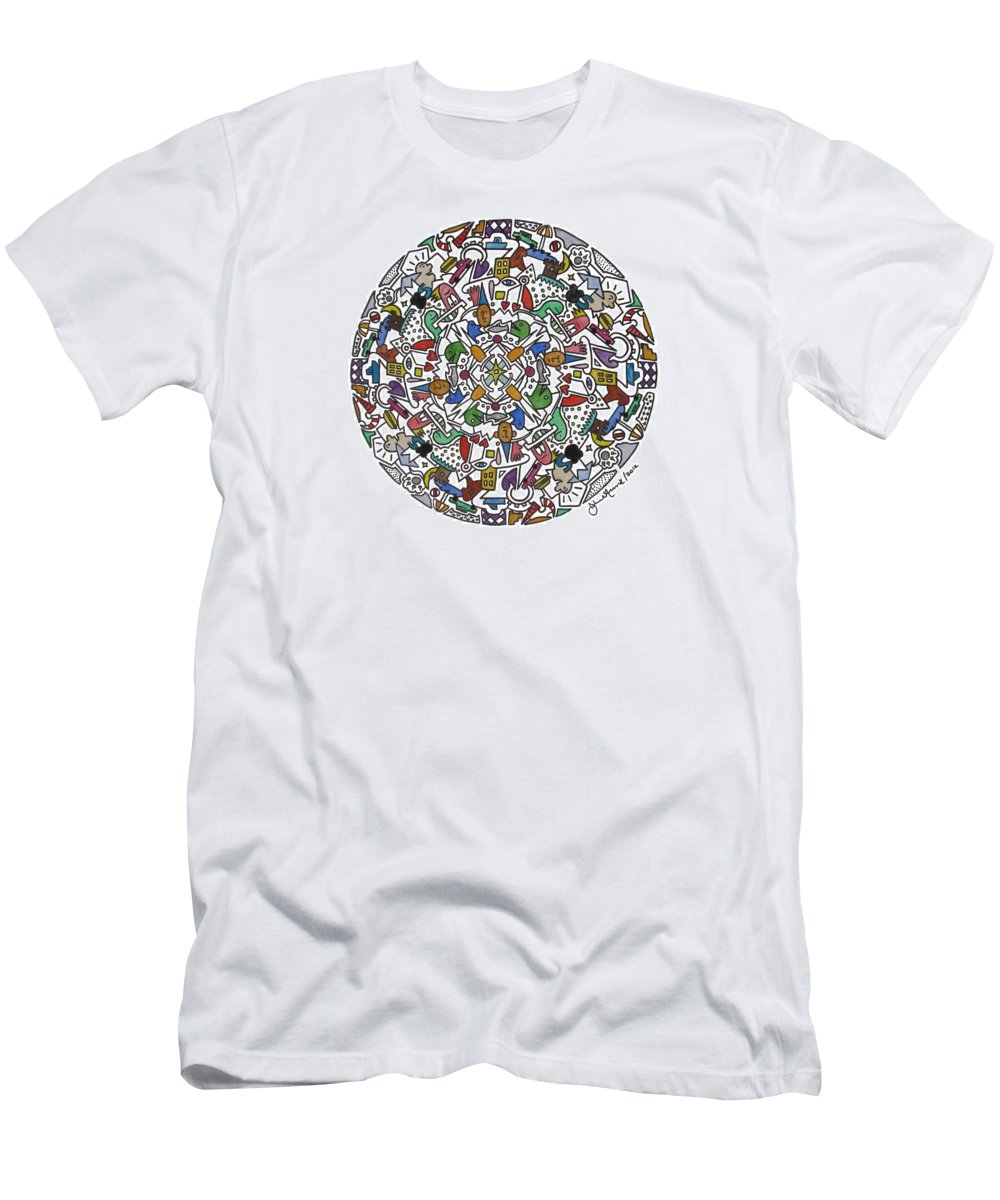 Abstract Drawing Men's T-Shirt (Athletic Fit) featuring the painting Kids World I by John Russell