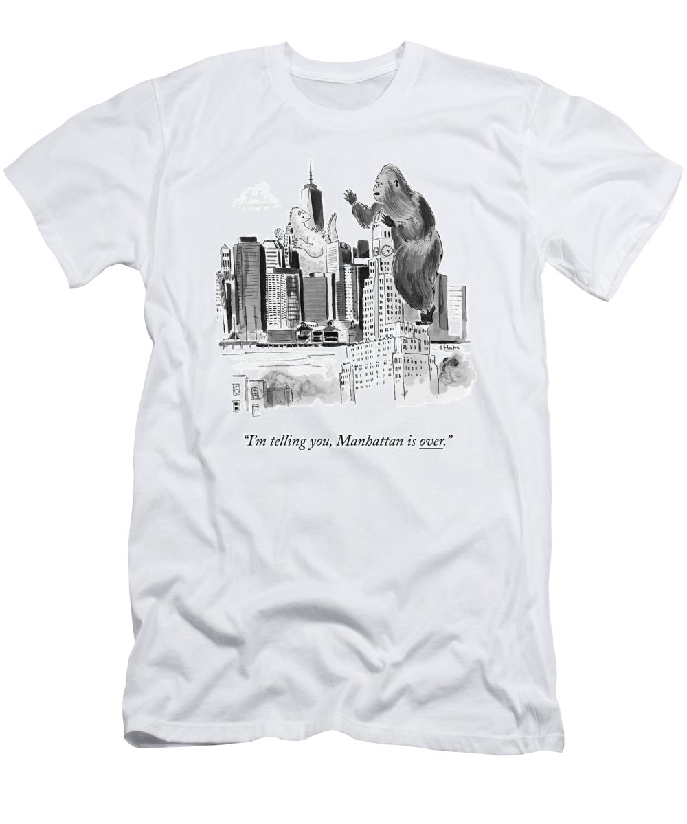 Godzilla T-Shirt featuring the drawing King Kong, Atop The Williamsburgh Savings Bank by Emily Flake