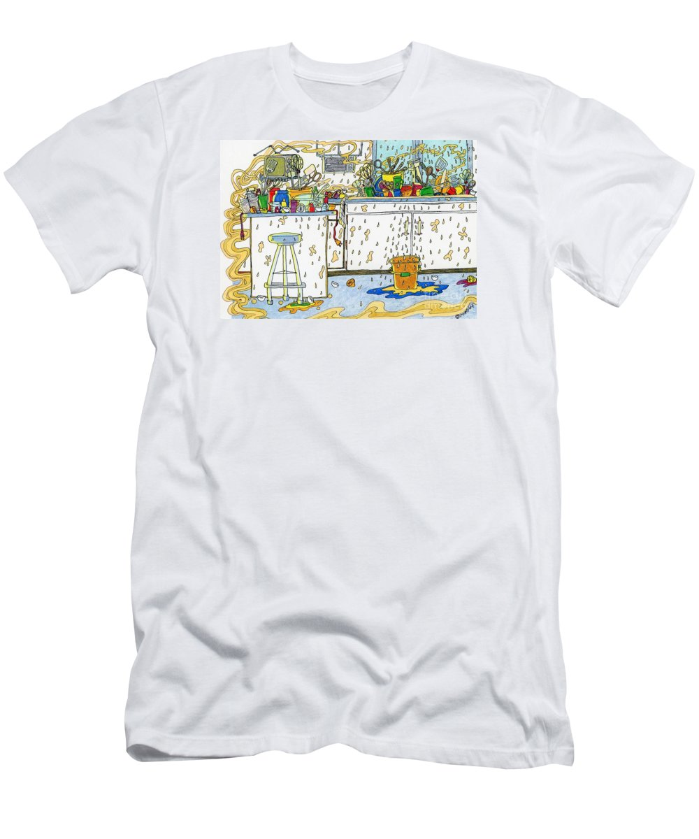 Kitchens Men's T-Shirt (Athletic Fit) featuring the painting Kitchen Catastrophe by Maggie Pringle