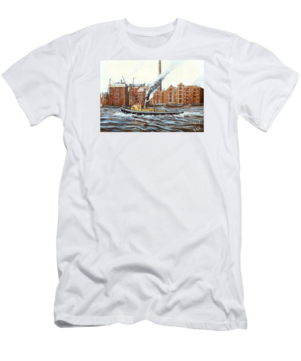 Knocker White Men's T-Shirt (Athletic Fit) featuring the painting Knocker White Sailing Down River Past Rotherhithe by Mackenzie Moulton