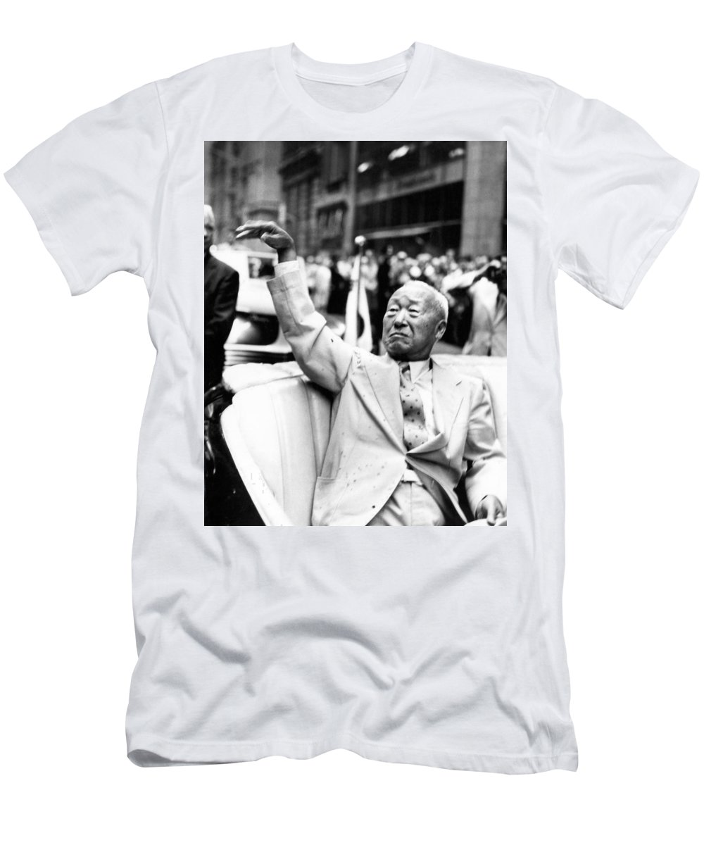 1 Person Men's T-Shirt (Athletic Fit) featuring the photograph Korean President Syngman Rhee by Underwood Archives
