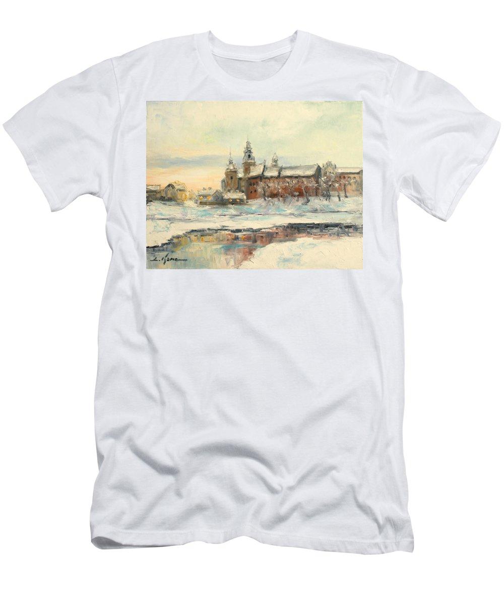 Wawel Men's T-Shirt (Athletic Fit) featuring the painting Krakow - Wawel Castle Winter by Luke Karcz