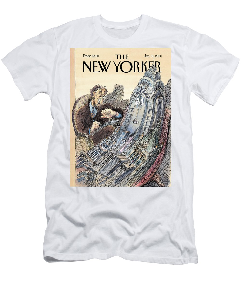 Artkey 43743 Eso Edward Sorel Chrysler Building New York Nyc Buildings City Urban Psychology Therapist Complain Complaining Complaint Time Psychiatrist Time Landmark Medicine Medical Health Regional Urban T-Shirt featuring the painting Kvetch City by Edward Sorel