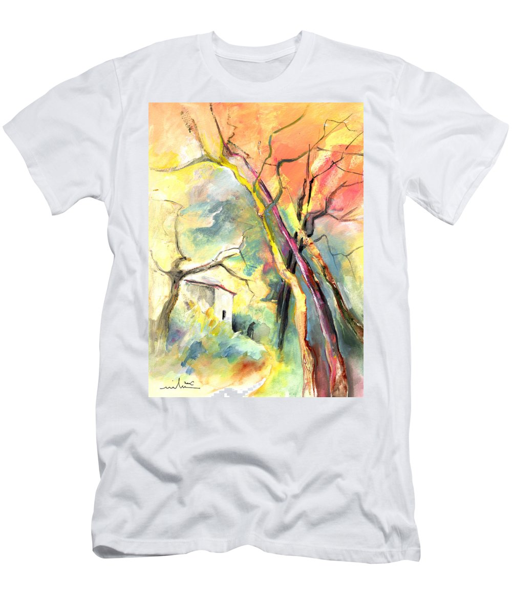 Landscapes Men's T-Shirt (Athletic Fit) featuring the painting La Casita 03 by Miki De Goodaboom