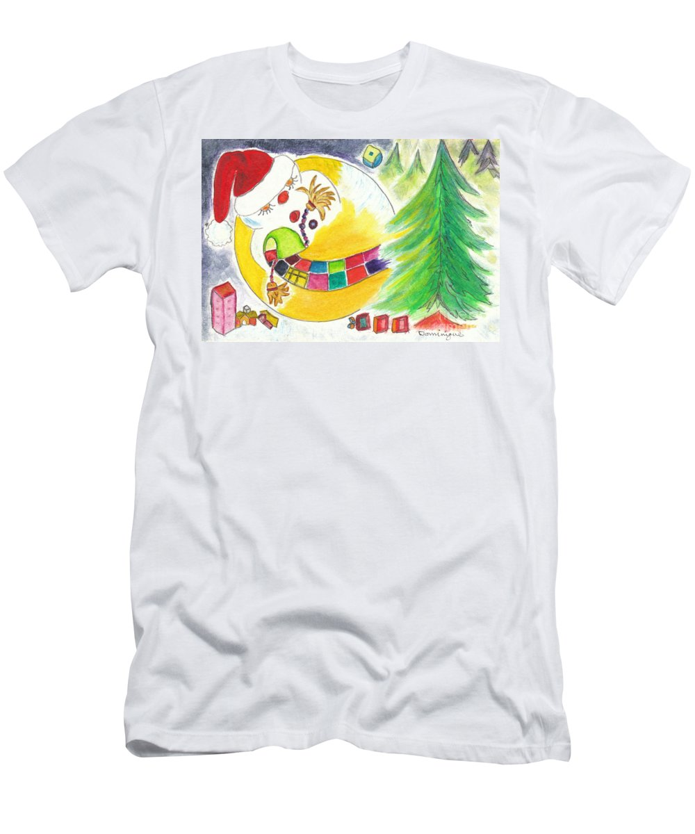 Illustration Men's T-Shirt (Athletic Fit) featuring the painting La Glissade / The Sliding by Dominique Fortier