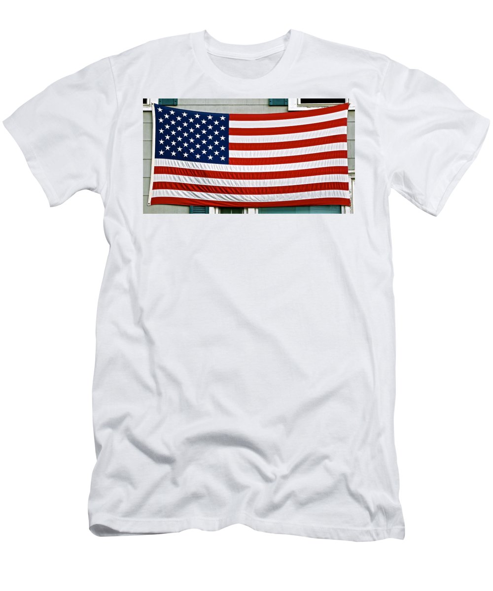 U.s. Flag Men's T-Shirt (Athletic Fit) featuring the photograph Labor Day Sunset On The Cape by Ira Shander