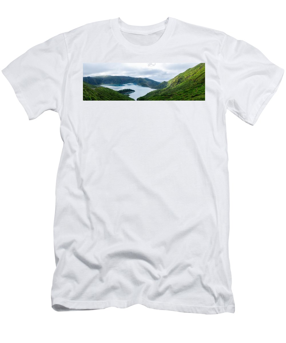 Lagoa Do Fogo Men's T-Shirt (Athletic Fit) featuring the photograph Lagoa Do Fogo Panoramic View by Marco Andrade