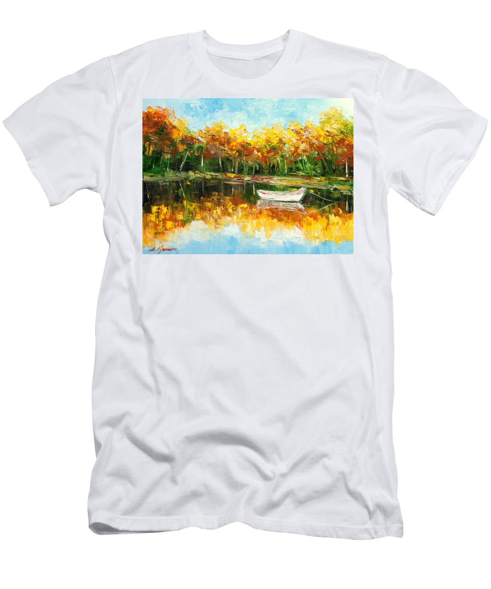 Lake Men's T-Shirt (Athletic Fit) featuring the painting Lake Impression by Luke Karcz