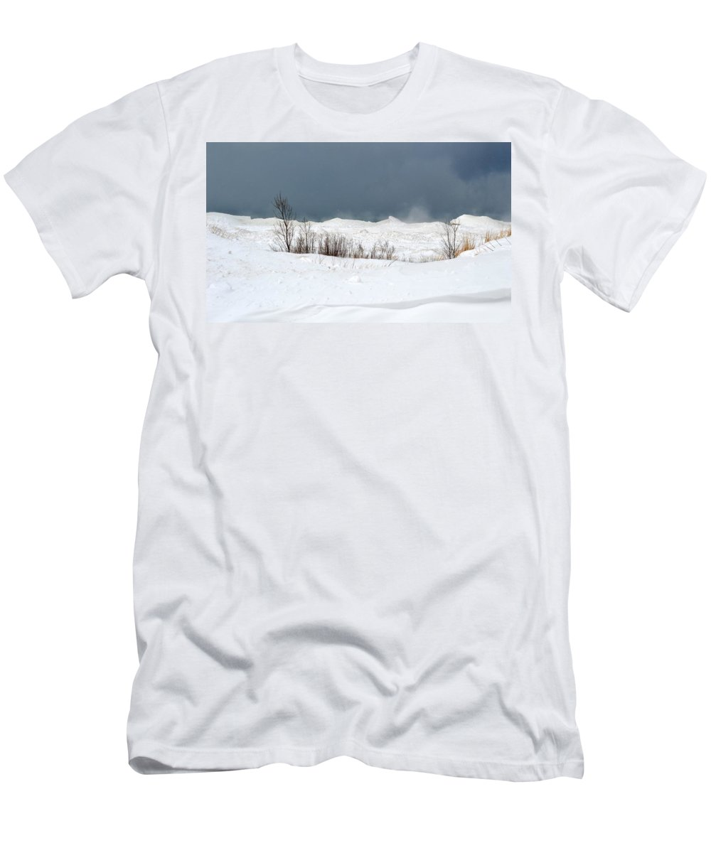 Lake Michigan Men's T-Shirt (Athletic Fit) featuring the photograph Lake Michigan Ice by Linda Kerkau