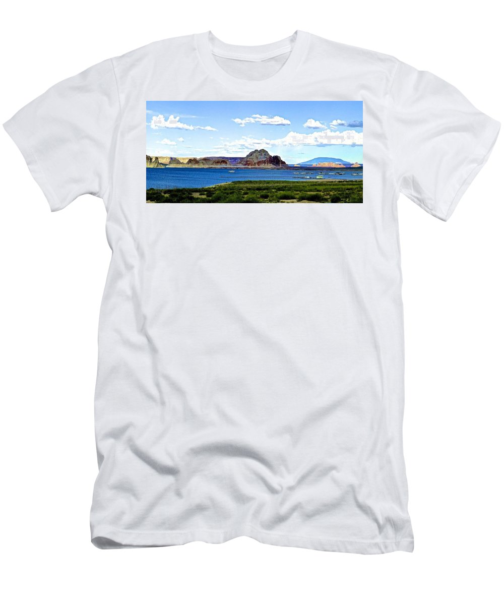 Lake Men's T-Shirt (Athletic Fit) featuring the photograph Lake Powell by Barbara Zahno