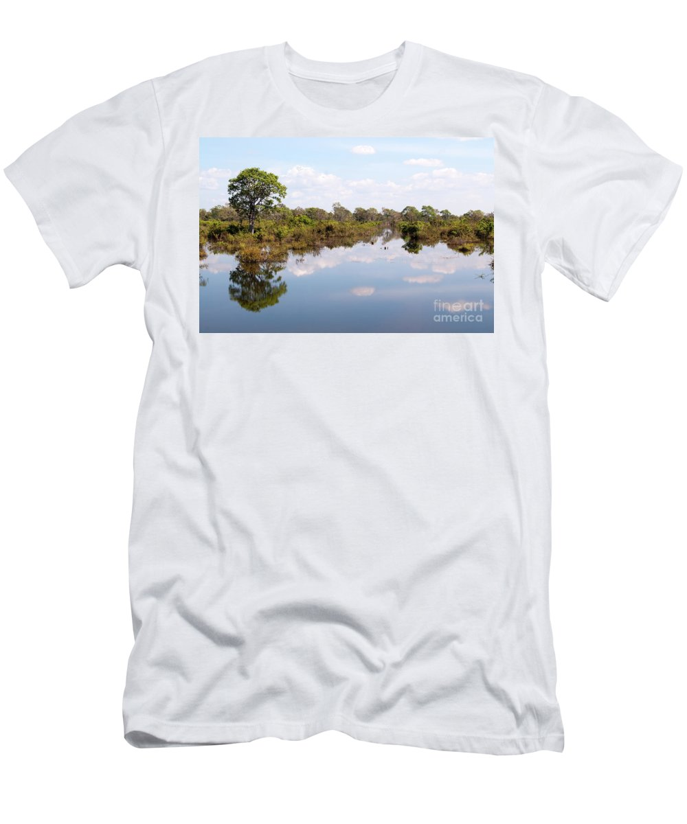 Cambodia Men's T-Shirt (Athletic Fit) featuring the photograph Lake Reflections 01 by Rick Piper Photography