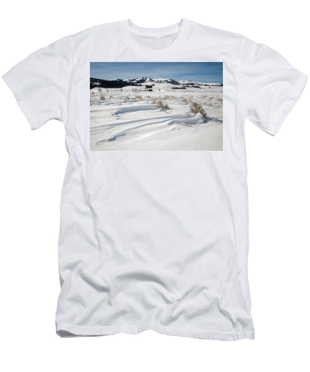 Lamar Valley Men's T-Shirt (Athletic Fit) featuring the photograph Lamar Valley Winter Scenic by Jack Bell