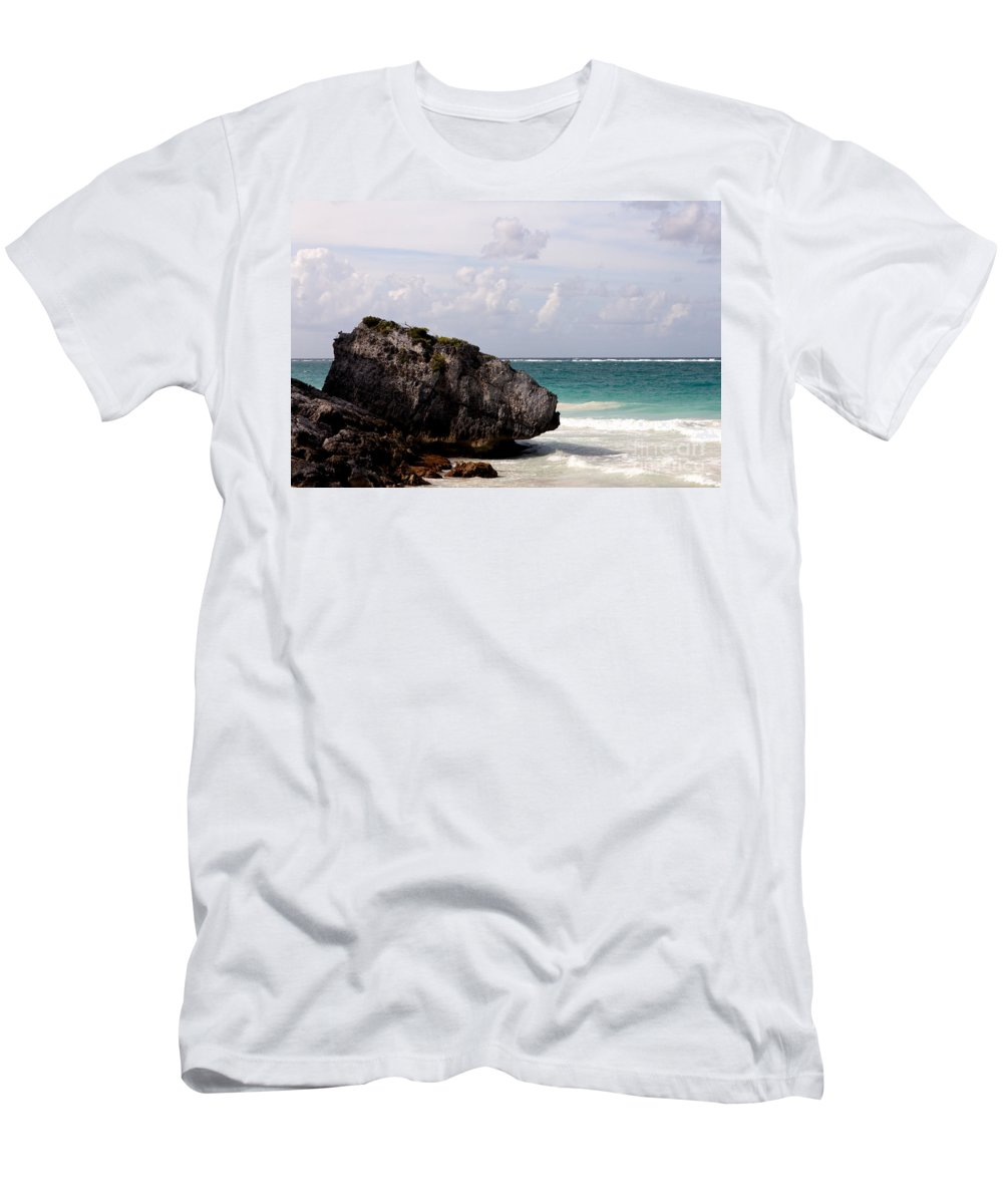 Background Men's T-Shirt (Athletic Fit) featuring the photograph Large Boulder On A Caribbean Beach by Jannis Werner