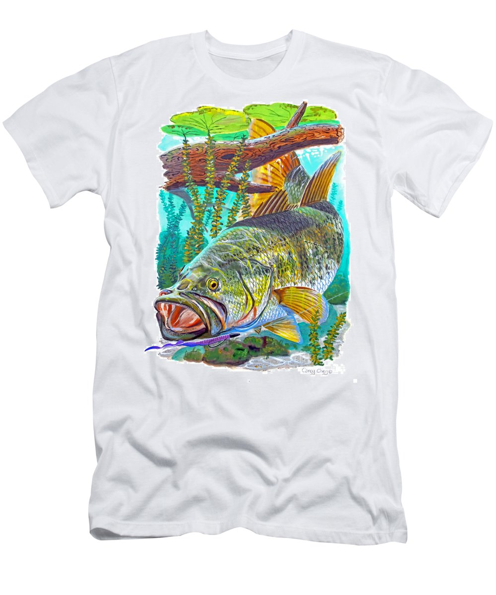 Gar Men's T-Shirt (Athletic Fit) featuring the painting Largemouth Bass by Carey Chen