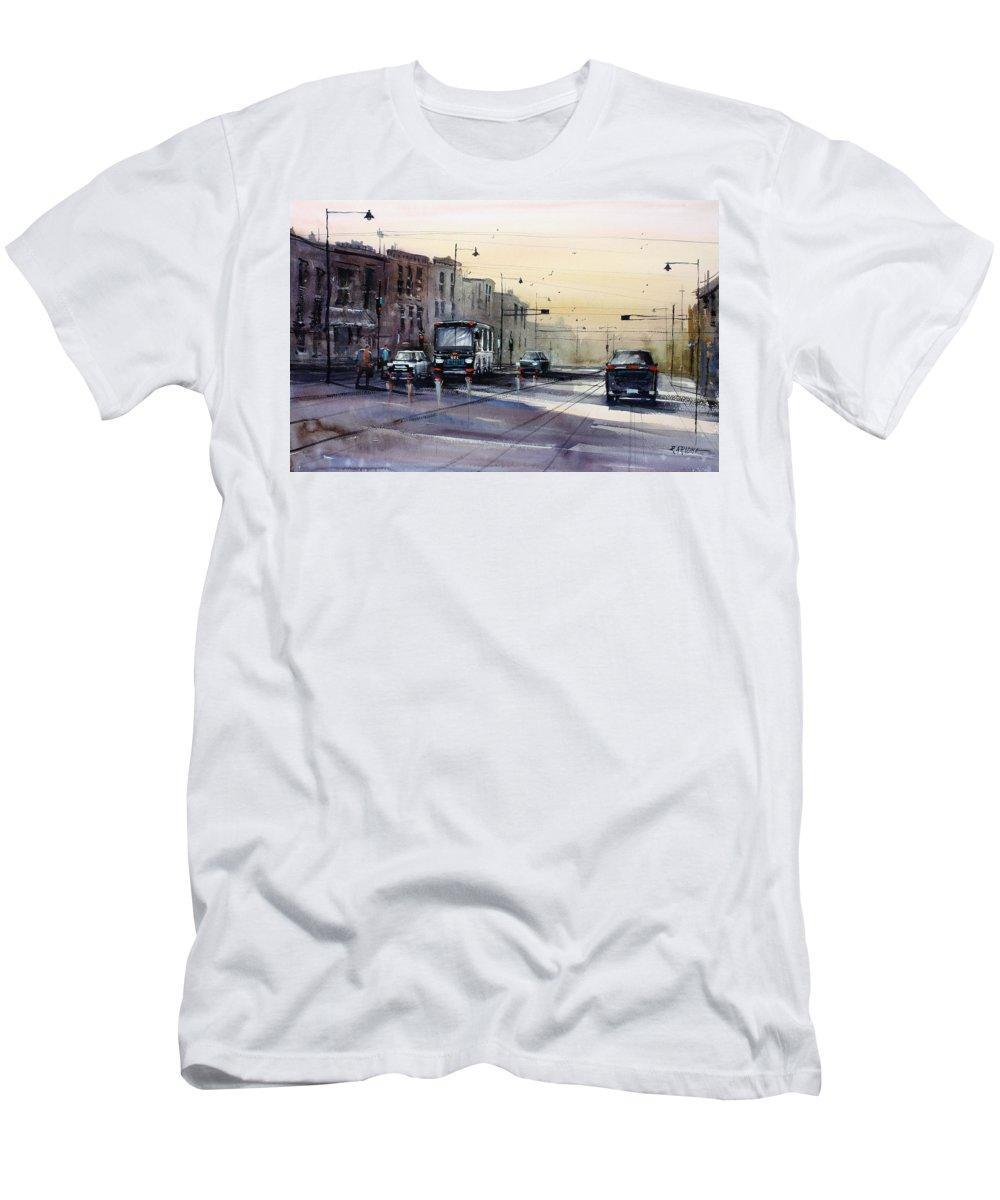 Ryan Radke Men's T-Shirt (Athletic Fit) featuring the painting Last Light - College Ave. by Ryan Radke