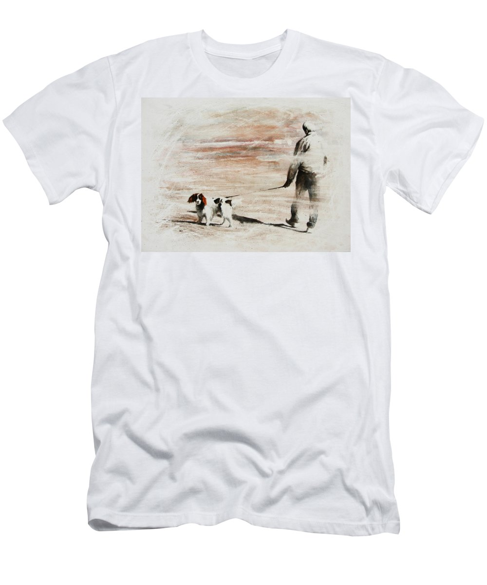 Dog Men's T-Shirt (Athletic Fit) featuring the painting Last Walk by Rachel Christine Nowicki