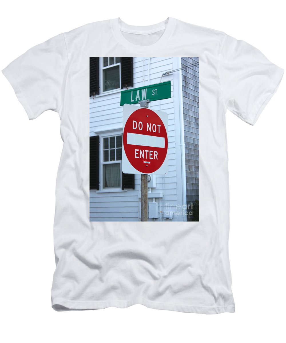 Attorney Men's T-Shirt (Athletic Fit) featuring the photograph Law Street Do Not Enter by Jannis Werner