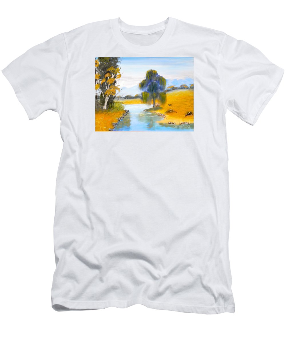 Impressionism Men's T-Shirt (Athletic Fit) featuring the painting Lawson River by Pamela Meredith