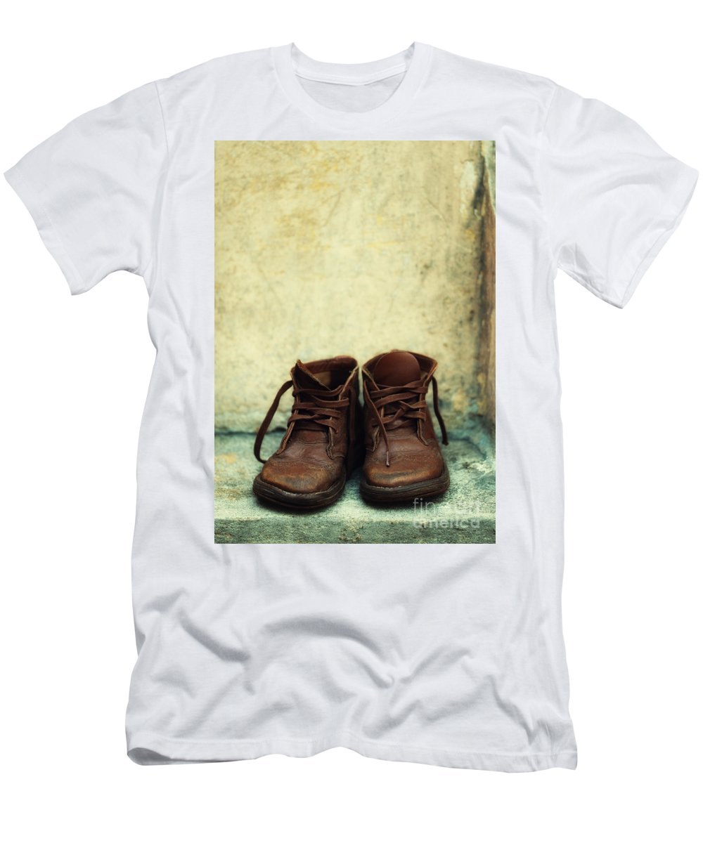 Vertical Men's T-Shirt (Athletic Fit) featuring the photograph Leather Children Boots by Jaroslaw Blaminsky