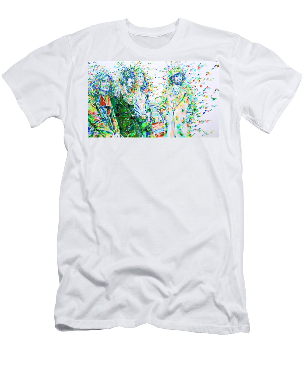 Led Men's T-Shirt (Athletic Fit) featuring the painting Led Zeppelin - Watercolor Portrait.2 by Fabrizio Cassetta