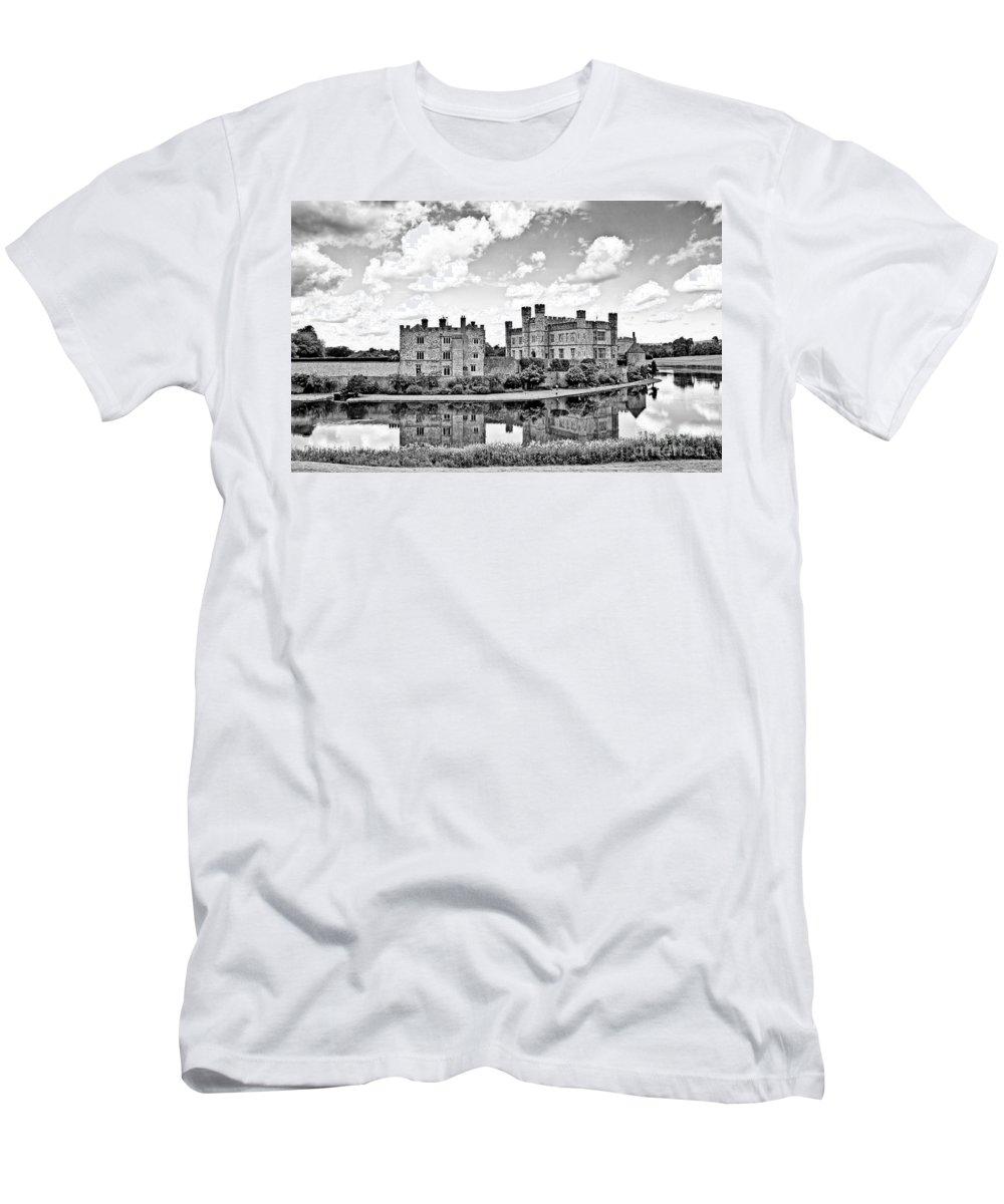 Leeds Castle Canvas Men's T-Shirt (Athletic Fit) featuring the photograph Leeds Castle Black And White by Chris Thaxter