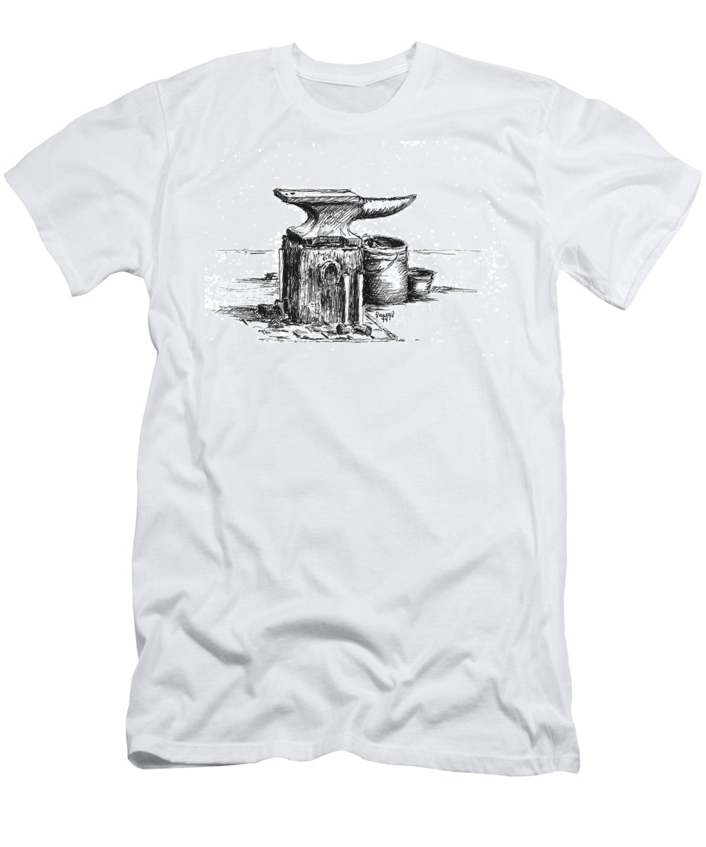 Anvil Men's T-Shirt (Athletic Fit) featuring the drawing Lee's Anvil by Sam Sidders