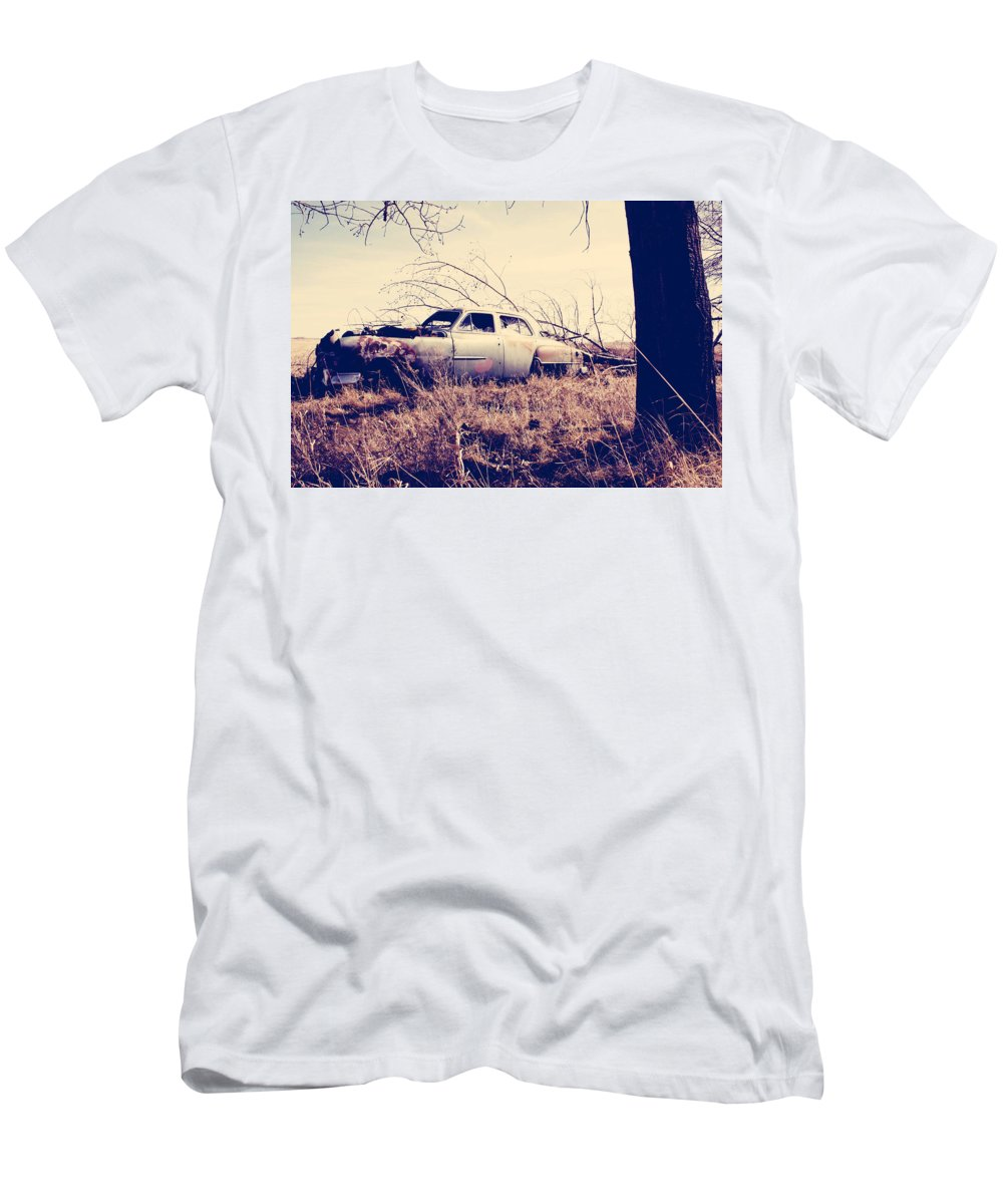 Old Car Men's T-Shirt (Athletic Fit) featuring the photograph Left Running by The Artist Project
