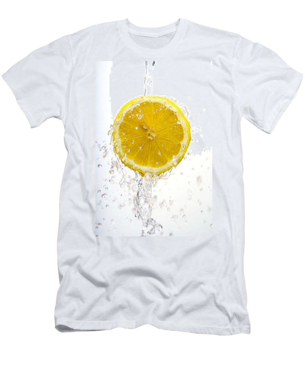 Lemon Men's T-Shirt (Athletic Fit) featuring the photograph Lemon Splash by Alexey Stiop