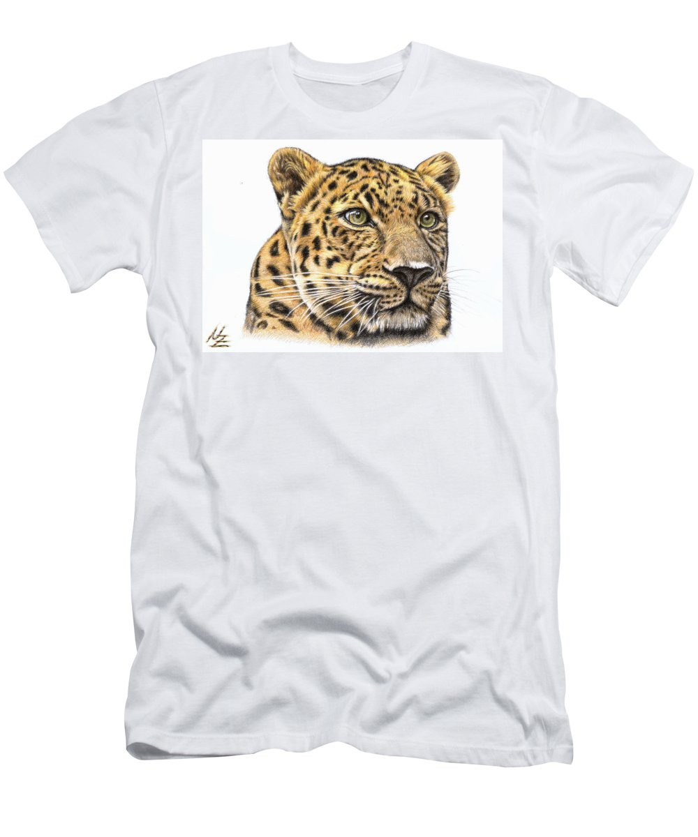 Leopard Men's T-Shirt (Athletic Fit) featuring the drawing Leopard by Nicole Zeug