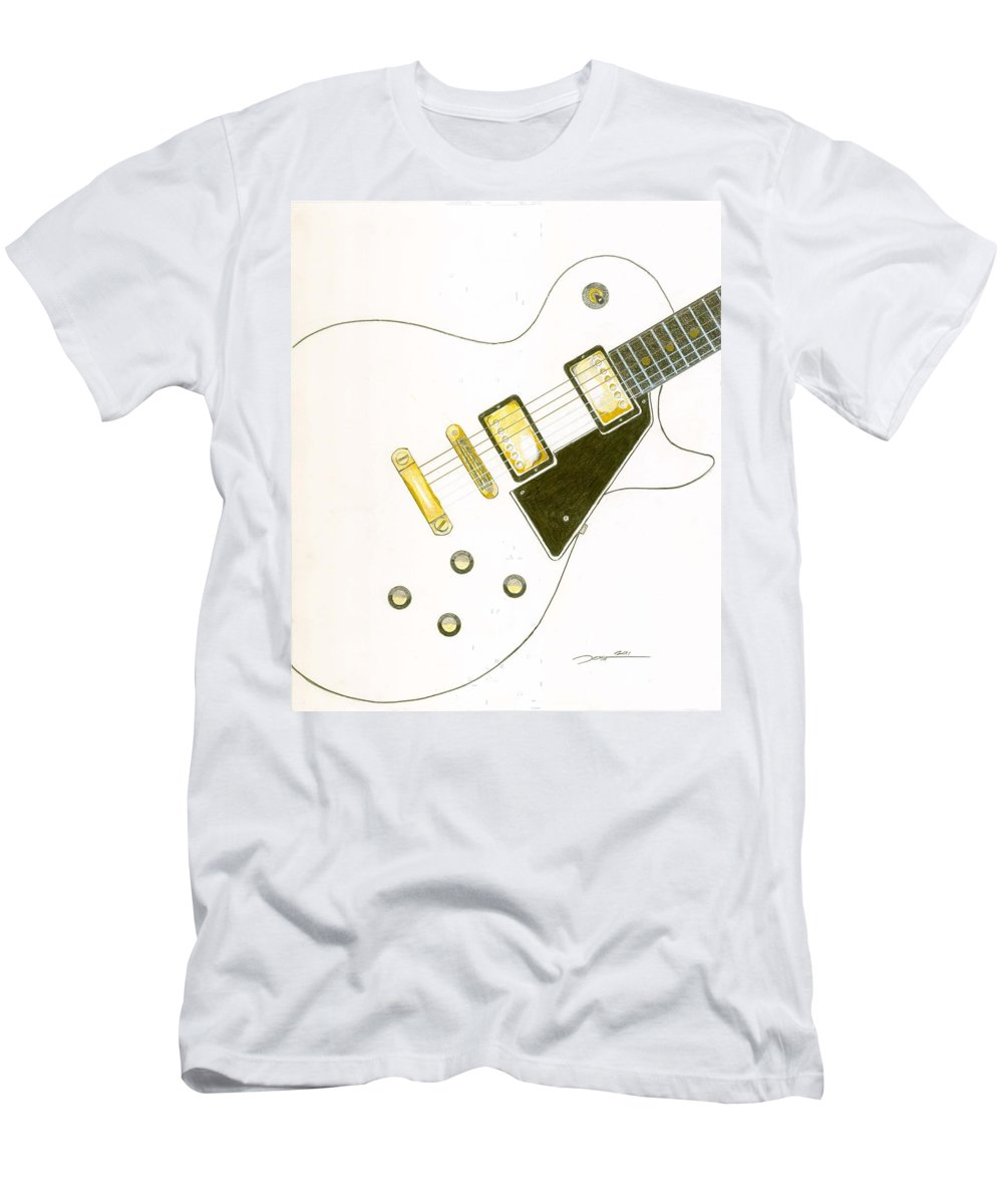 Guitar Men's T-Shirt (Athletic Fit) featuring the drawing Les Paul by Rick Yost