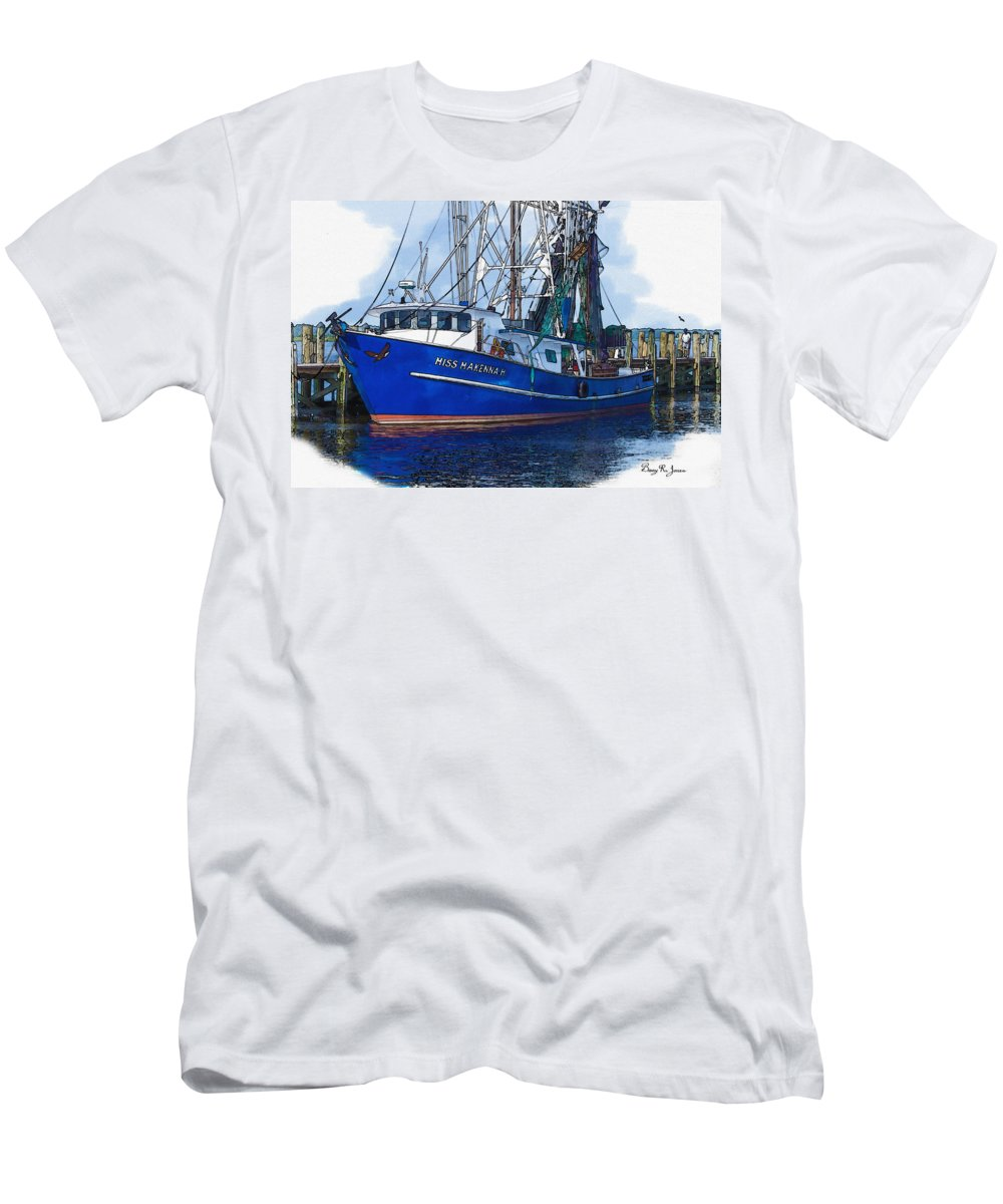 Shrimp Boat Men's T-Shirt (Athletic Fit) featuring the photograph Let's Go Shrimping by Barry Jones