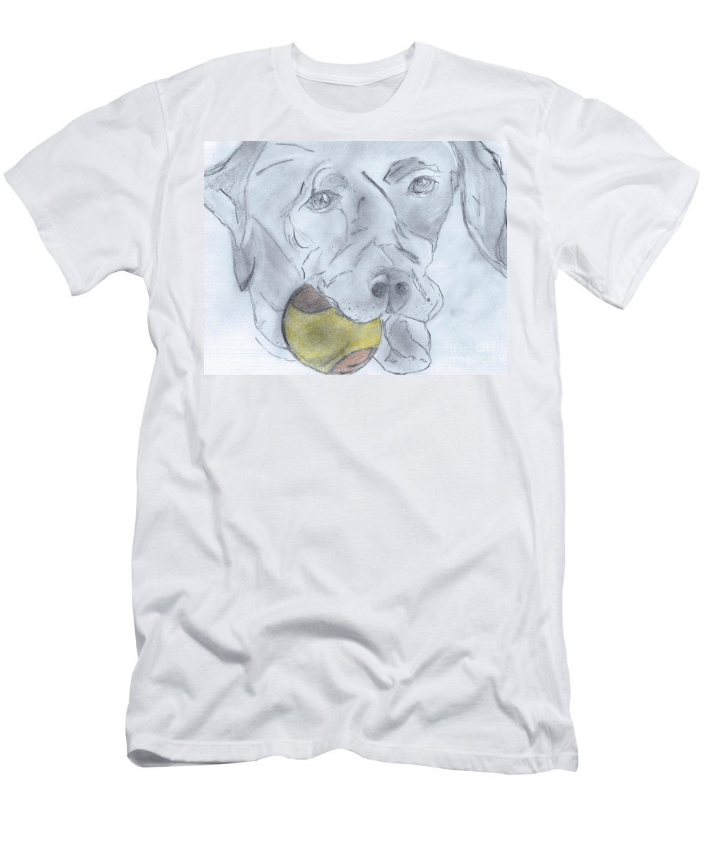 Ball Men's T-Shirt (Athletic Fit) featuring the drawing Let's Play Ball by Elizabeth Briggs