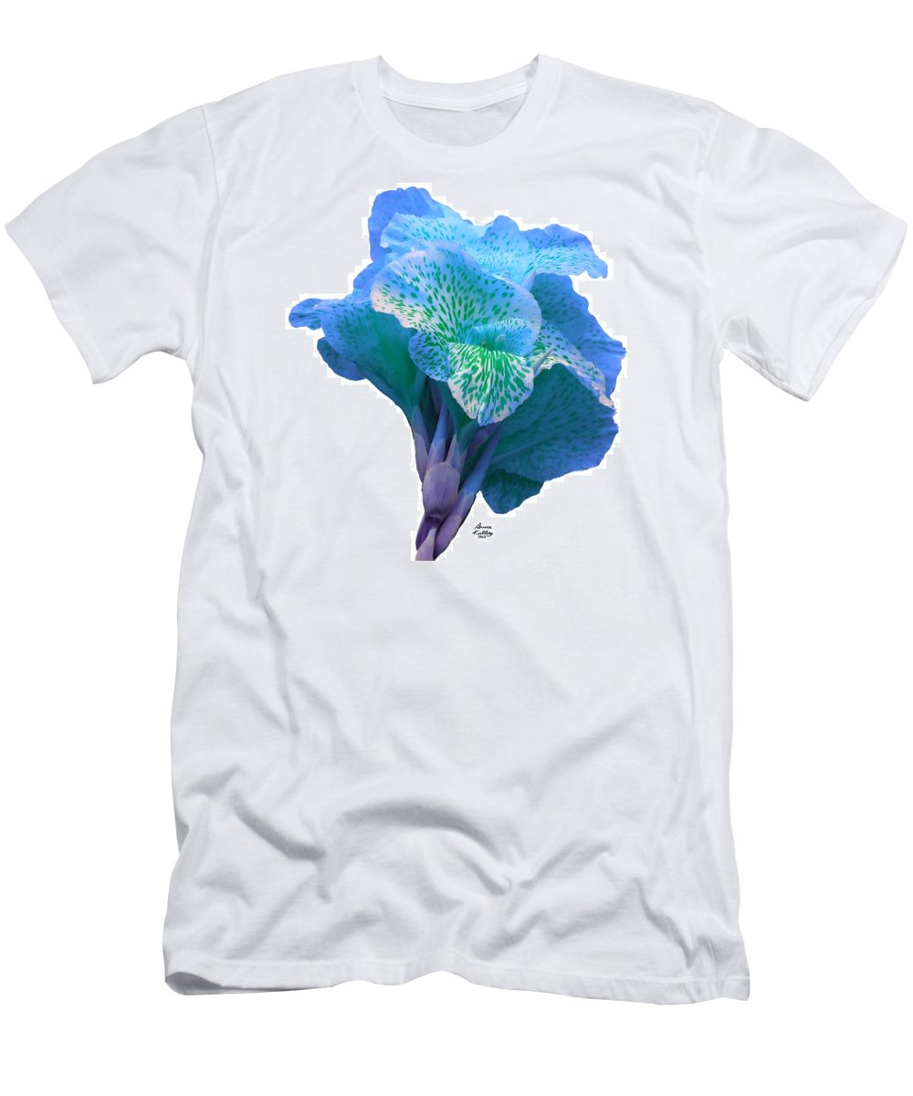 Blue Men's T-Shirt (Athletic Fit) featuring the painting Light Blue Iris by Bruce Nutting