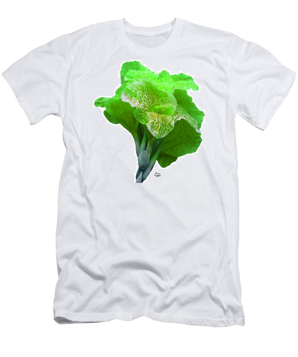 Iris Men's T-Shirt (Athletic Fit) featuring the painting Light Green Iris by Bruce Nutting