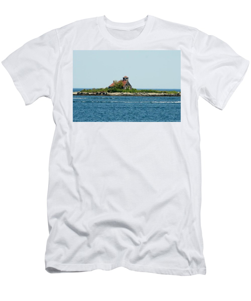 Men's T-Shirt (Athletic Fit) featuring the photograph Lighthouse Keepers Residence by Barbara S Nickerson