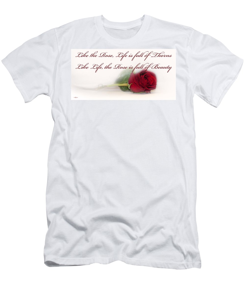 Like The Rose Men's T-Shirt (Athletic Fit) featuring the photograph Like The Rose by Mechala Matthews