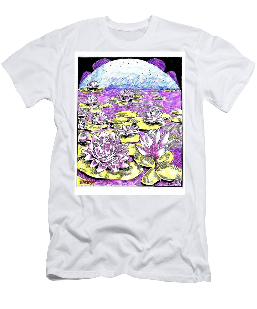 Lilies Of The Lake Men's T-Shirt (Athletic Fit) featuring the drawing Lilies Of The Lake by Seth Weaver