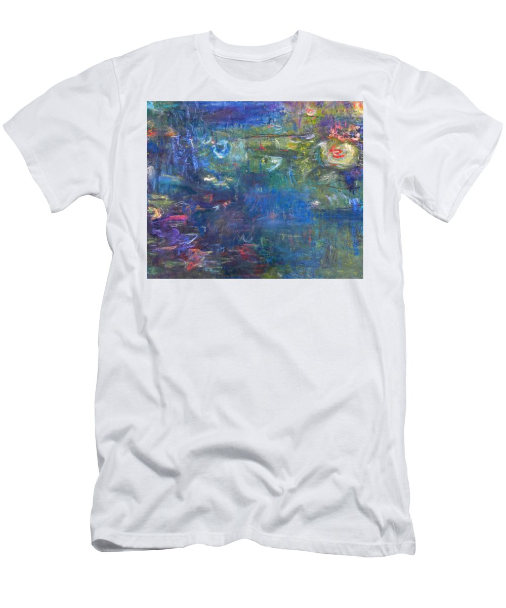 Contemporary Floral Men's T-Shirt (Athletic Fit) featuring the painting Koi Pond 2 by Tolere