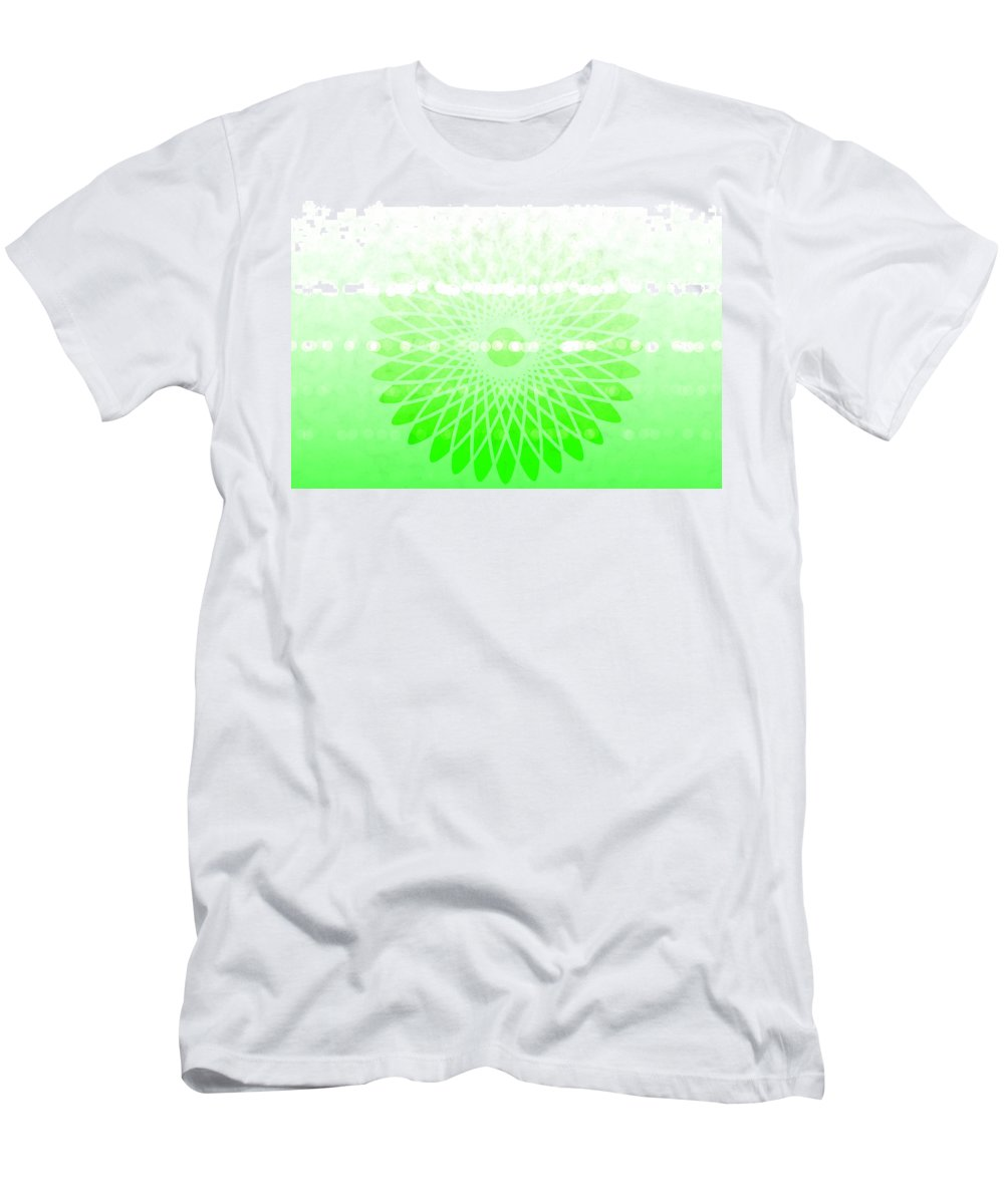 Lime Green Spirograph Men's T-Shirt (Athletic Fit) featuring the digital art Lime Green Spirograph by Chastity Hoff