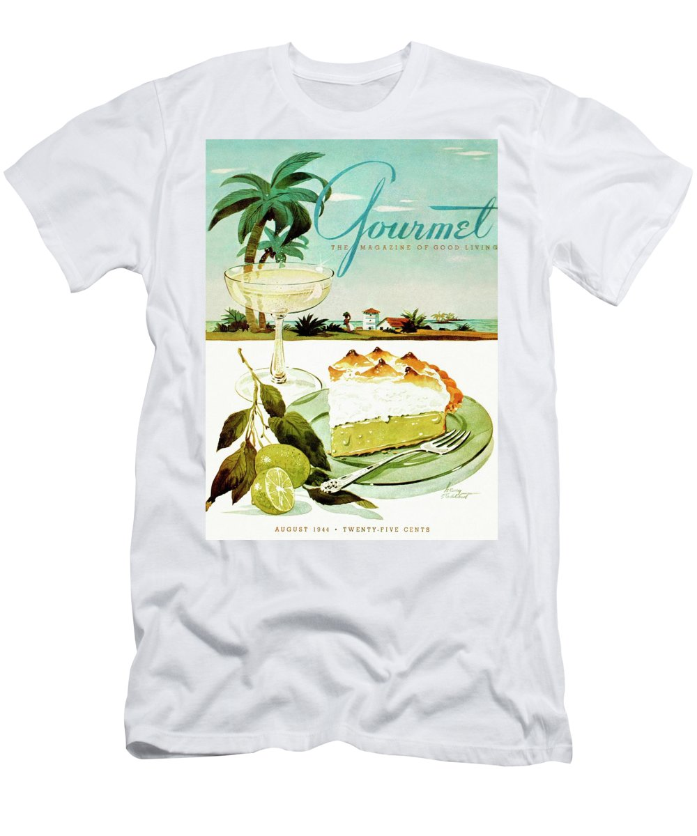 Food Men's T-Shirt (Athletic Fit) featuring the photograph Lime Meringue Pie With Champagne by Henry Stahlhut