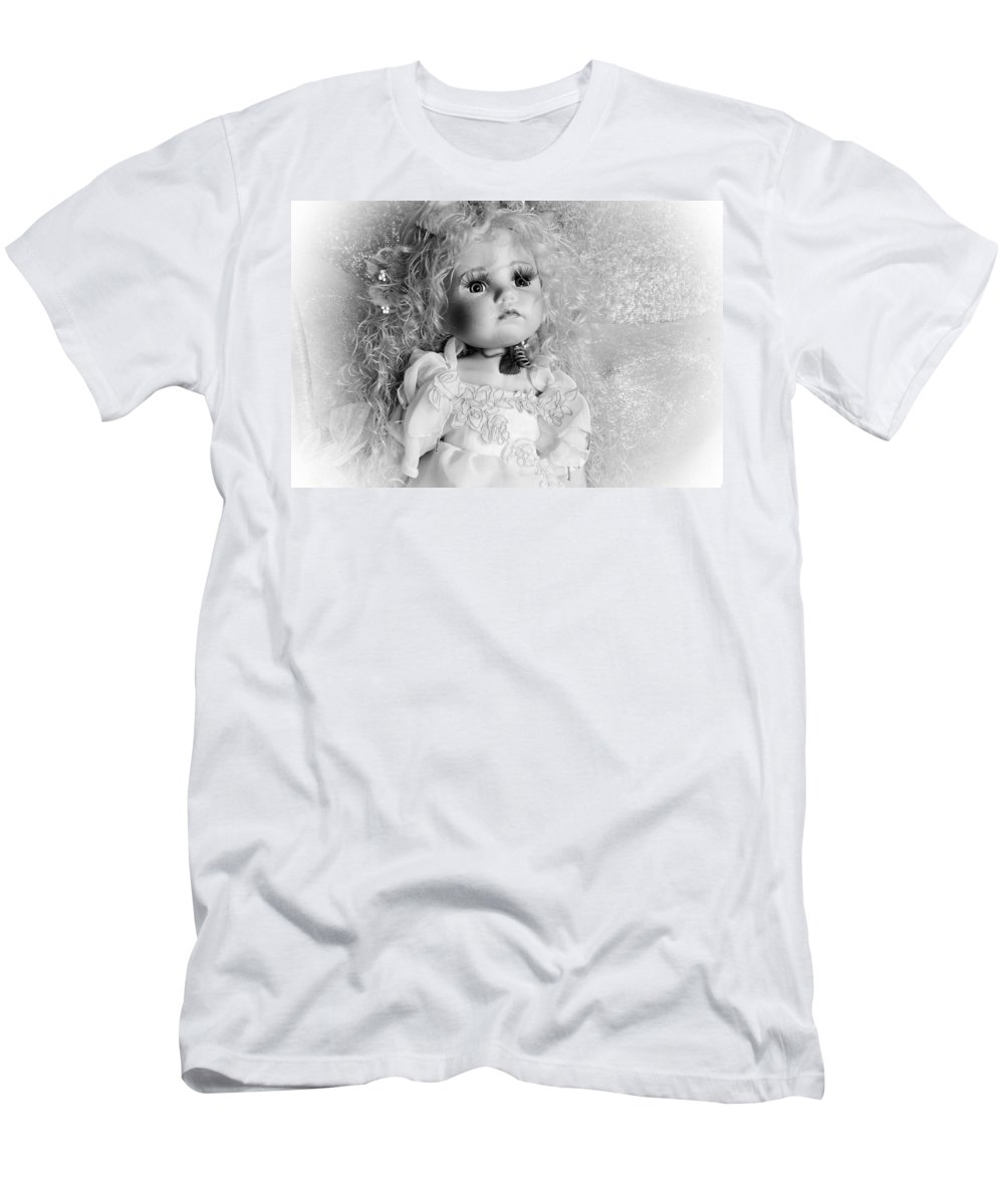Doll Men's T-Shirt (Athletic Fit) featuring the photograph Little Angel In Black And White by Sherman Perry