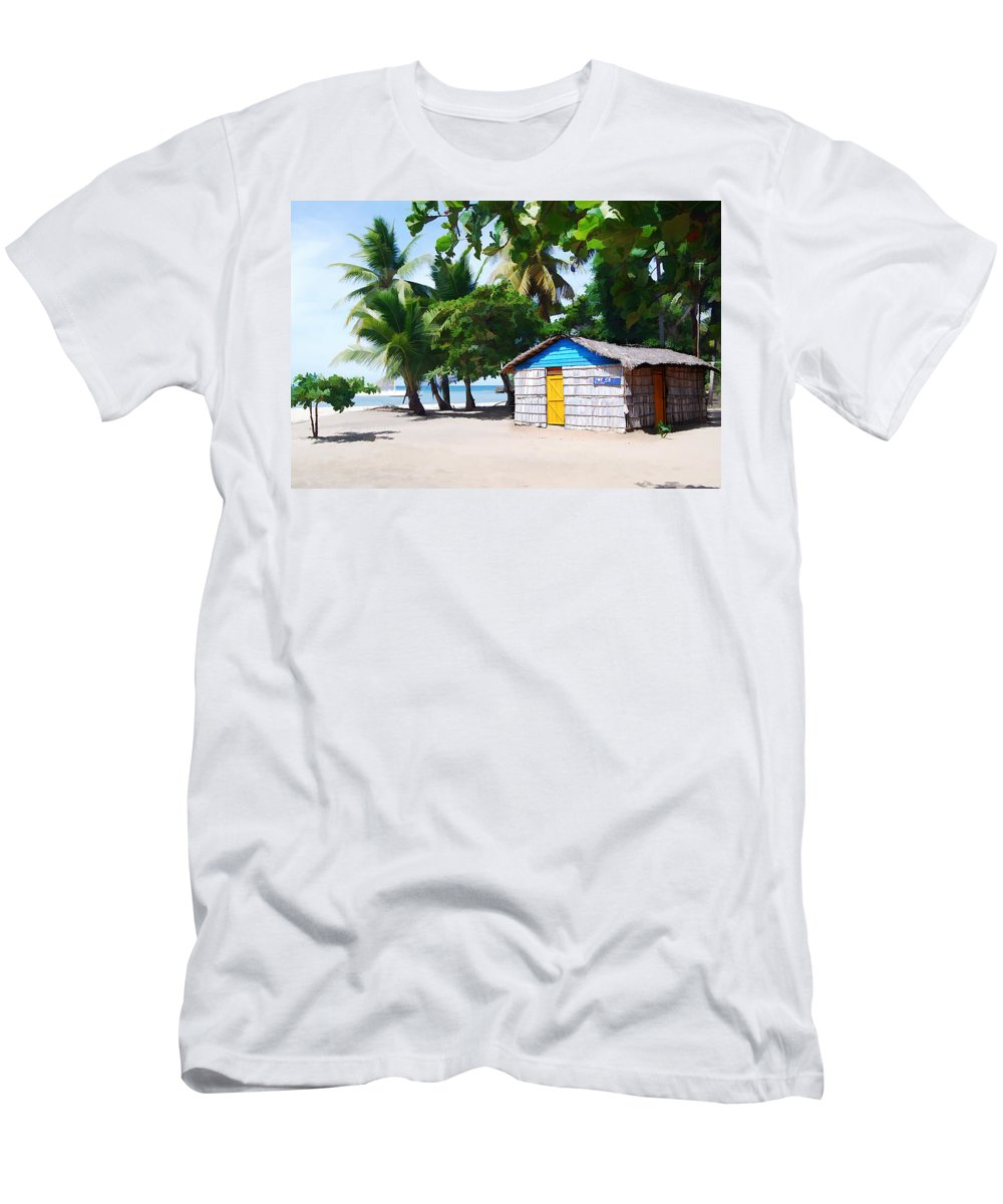Beach Men's T-Shirt (Athletic Fit) featuring the painting Little Beach Shack Under The Palms by Elaine Plesser