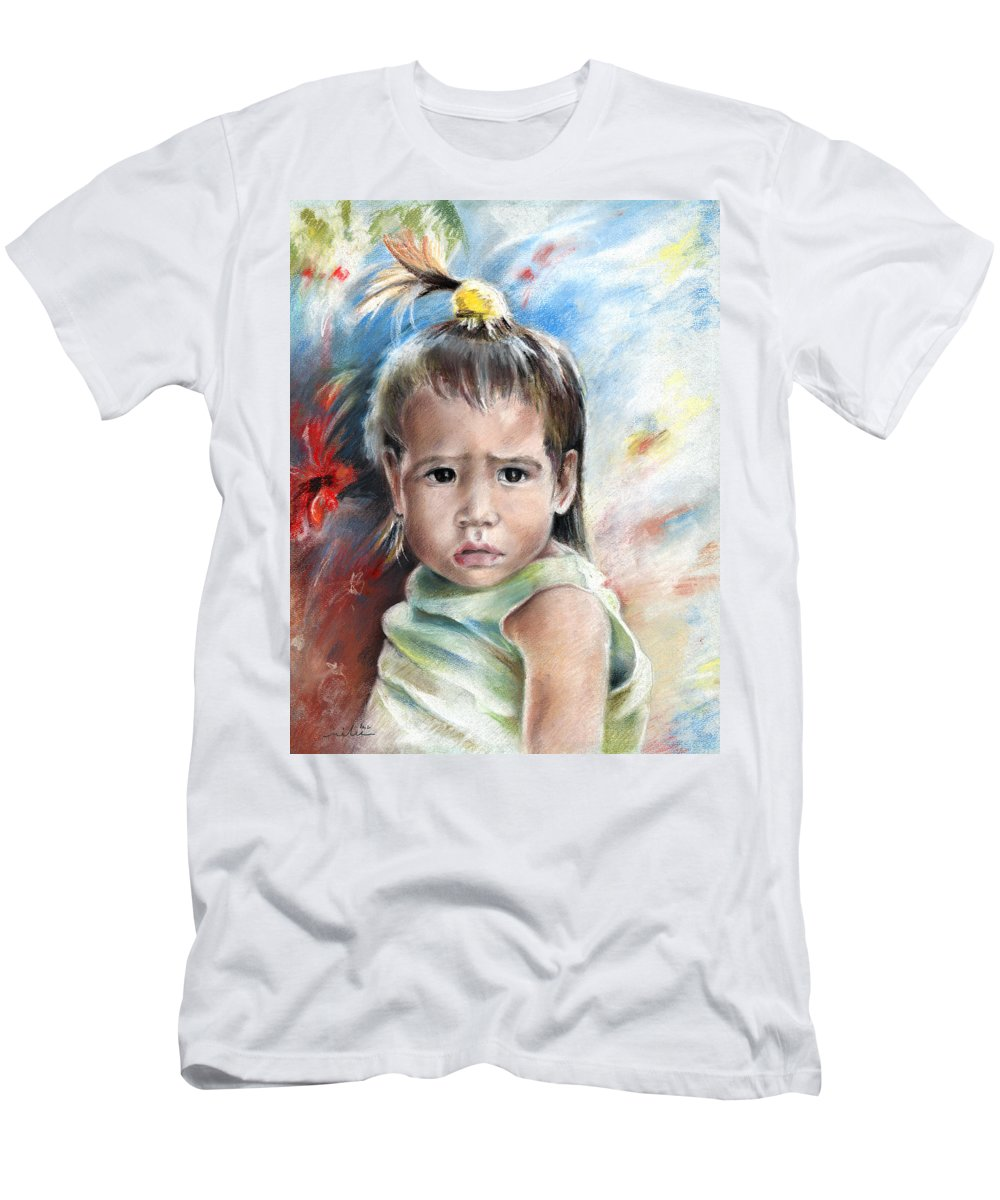 Travel Men's T-Shirt (Athletic Fit) featuring the painting Little Girl From Tahiti by Miki De Goodaboom