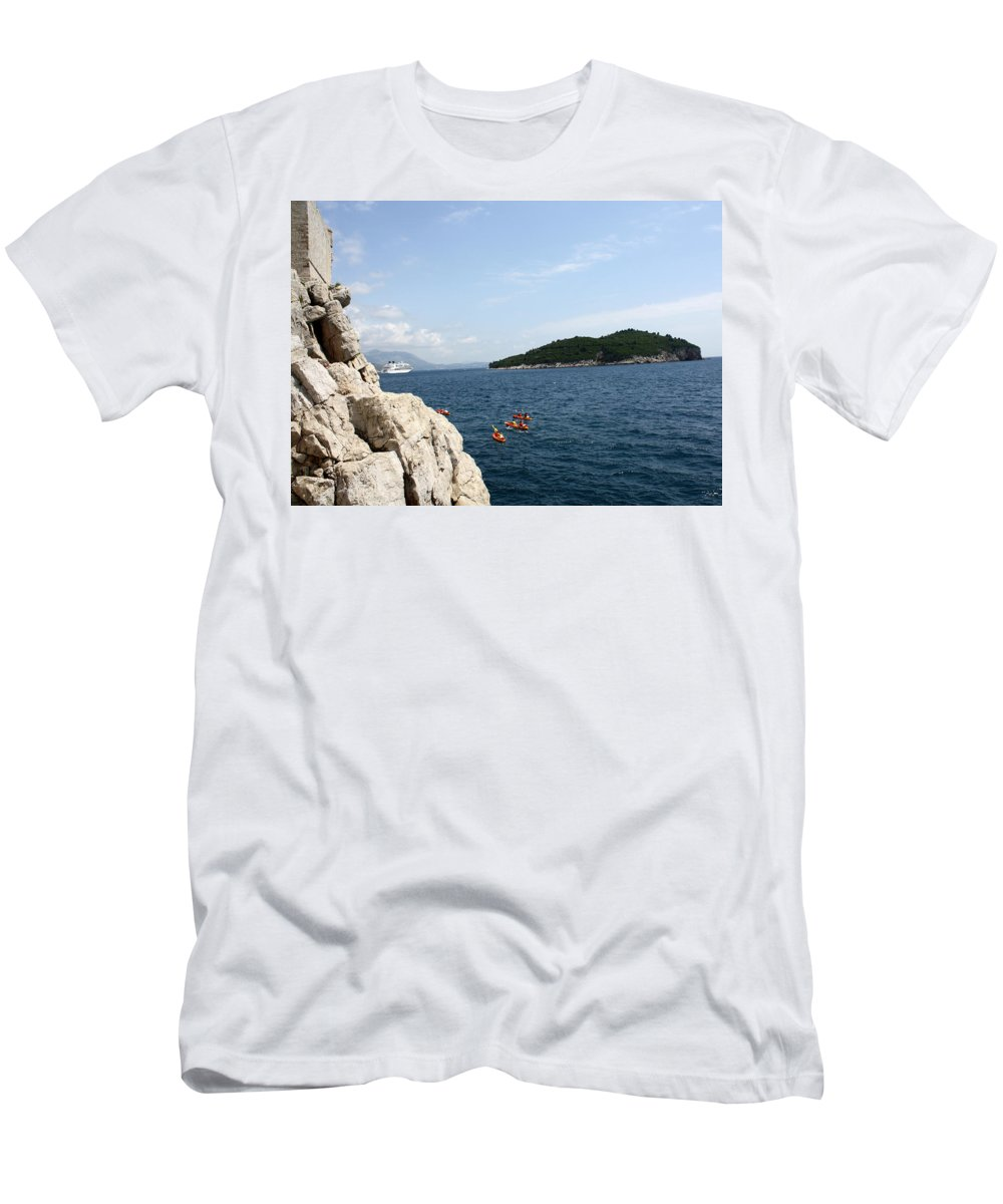 Dubrovnik Men's T-Shirt (Athletic Fit) featuring the photograph Lokrum From Buza by David Nicholls